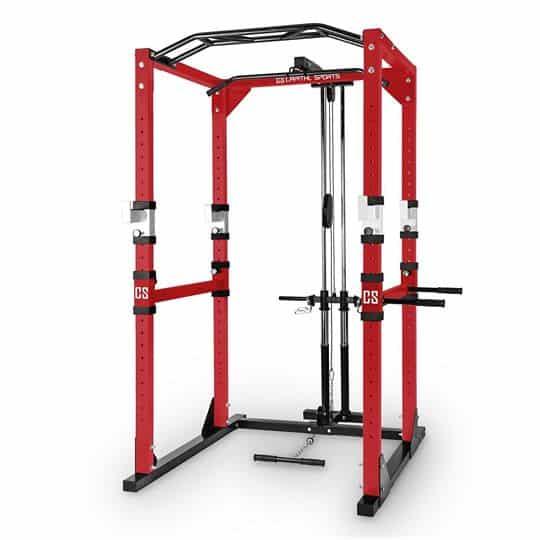 Cage à squat avec poulie haute et basse barre de traction et dips 1 Fitness Life